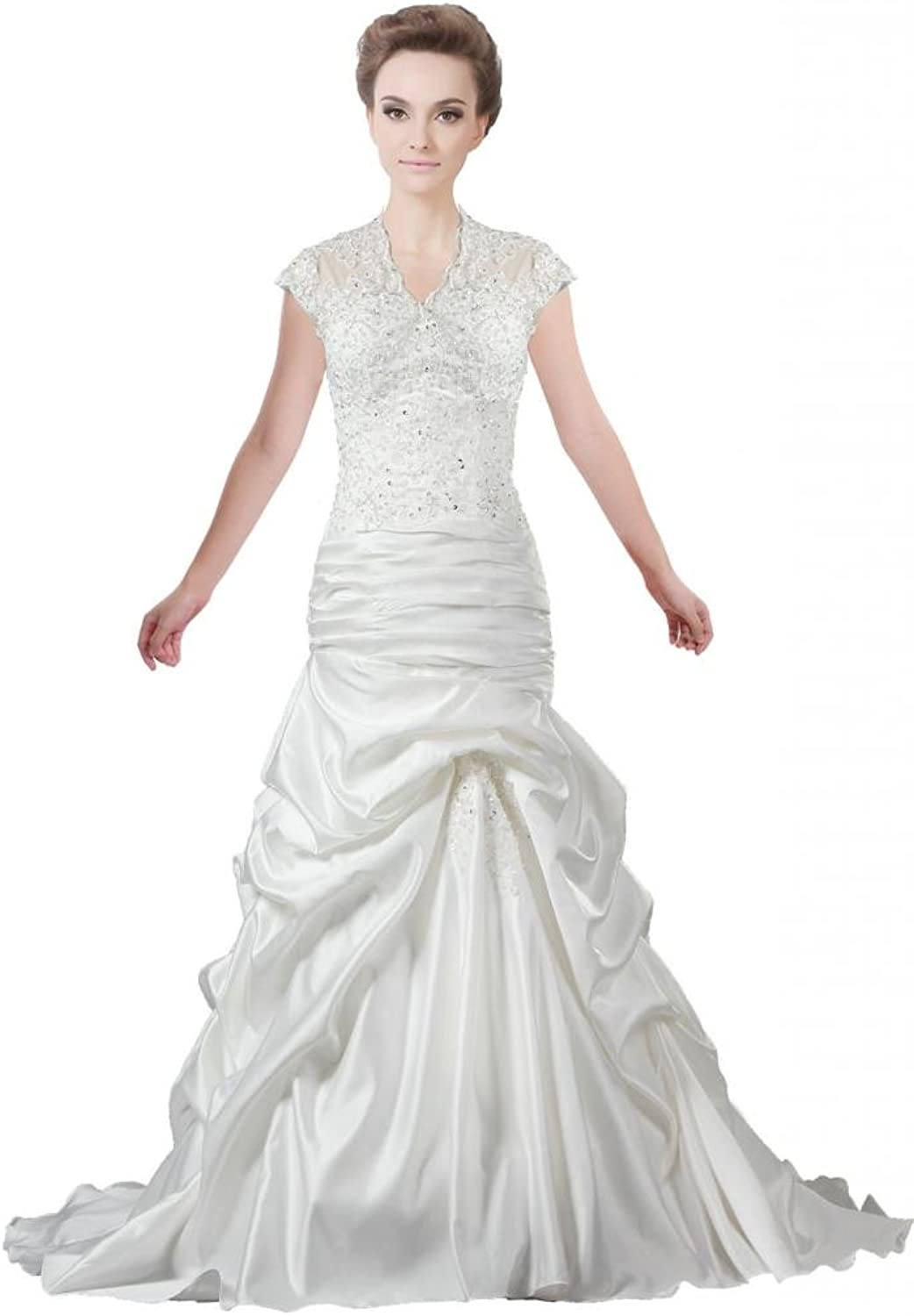 ANTS Women's Ruched Satin Lace A Line Bridal Gown Cap Sleeve