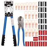 Battery Cable wire Lug Crimping Tool for AWG 8-1/0 terminals with Cable Cutter and 20PCS Tubular Ring Terminal Connectors and 20PCS 3:1 Dual Wall Adhesive Heat Shrink Tubing