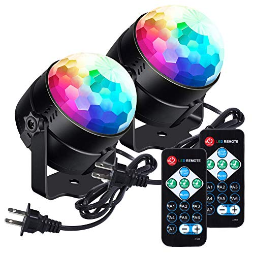 LUNSY Sound Activated Party Lights with Remote Control Dj Lighting RGB Disco Ball Light, Strobe Lamp 7 Modes Stage Par…