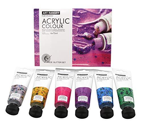 Art Ranger zestaw farb akrylowych 6 x 75 ml, farby akrylowe - farby artystyczne malowanie na płótnie + blejtram (błyszczące kolory)