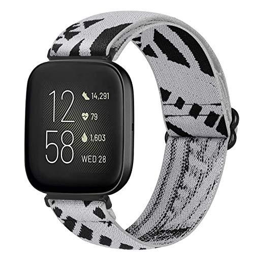 Bandas elásticas compatibles con Fitbit Versa/Versa 2/Versa Lite/Versa SE de nailon transpirable ajustable para hombres y mujeres