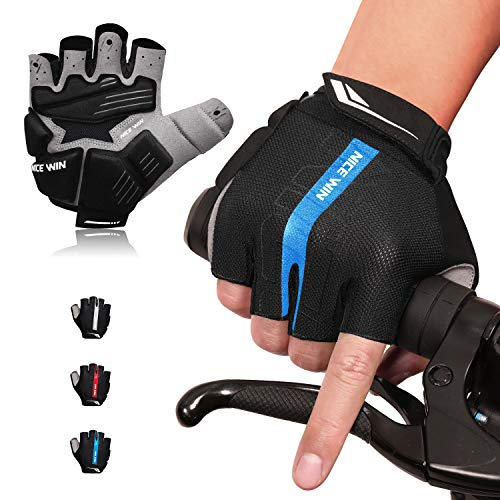 NICEWIN 6mm SBR Padded Motorcycle Mountain Biking Gloves for Men Women Youth, MTB Glove with Shock-Absorbing Pad, Breathable Mesh for Outdoor Sports Road Cycling Blue L