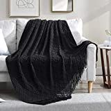 Walensee Throw Blanket for Couch, 50 x 60 Black, Acrylic Knit Woven Summer Blanket, Lightweight Decorative Soft Nap Throw with Tassel for Chair Bed Sofa Travel Picnic, Suitable for All Seasons