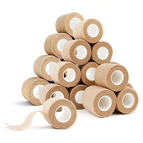 Cohesive Bandages 24 Pack Wrap Bandages 2 Inches X 5 Yards, Self Adhesive Rolls for Swelling Sprains and Soreness On Wrist and Ankle