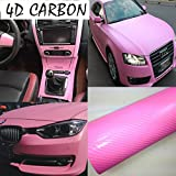 DIYAH 4D Pink Carbon Fiber Vinyl Wrap Sticker with Air Release Bubble Free Anti-Wrinkle 12' X 60' (1FT X 5FT)