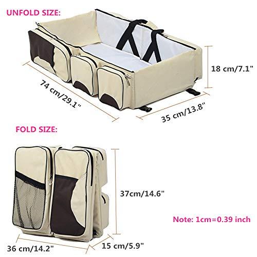 3 in 1 Wickeltaschen für Babys, Multifunktional tragbar Baby-Reisebett Krippe Wickeltasche Faltbar Tragetasche für 0-12 Monate, Dunkelblau - 2