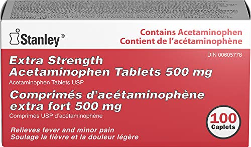 Stanley Pharmaceuticals Extra Strength Acetaminophen, Relieves Fever and Minor Pain, 500mg, 100 Caplets