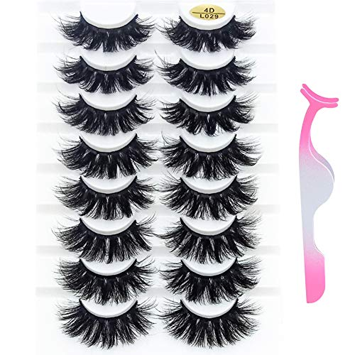 Rinov 8 Pairs 25MM 4D False Eyelashes Natural Wispies Fluffy Eyelashes Extension Full Volume Lashes Handmade with Nipper (4DL029)