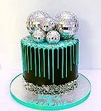 5 PCS JeVenis Disco Ball Cake Decoration 70's Disco Cake Decoration Disco Ball Toppers Saturday Night Fever Party Supplies Disco Ball Dance Birthday Party Supplies