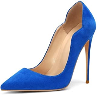 Fashion Pointed High Heels For Banquet Wedding Dress Daily (Color : Royal blue, Size : 38)