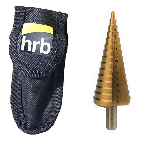 HRB Profi Stufenbohrer HSS Lochbohrer, Kegelbohrer Schälbohrer für Metall, Blech, Kunststoff und Holz, Aufnahme 10mm für Standard Bohrfutter (1er Set 4-32mm)