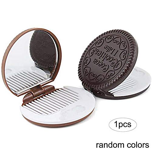 Beito 1pc Cute Girl Chocolate Cookie Shape Design Miroir Cosmétique Maquillage Peigne Au Chocolat