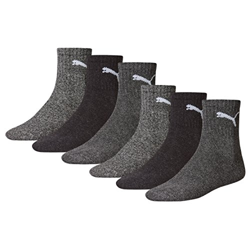 Puma Unisex Short Crew Socken Basic Sportsocken 6er Pack (35/38, Anthrazit/Grey)
