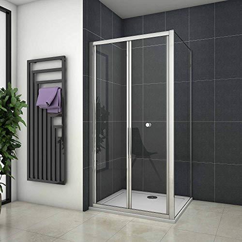 vouwbare douchedeur,douchecabine 90x185cm,zijpaneel 80cm,verchroomd profiel,6mm helder veiligheidsglas