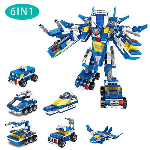 welltop Roboter Spielzeug, Gebäude Spielzeug für Kinder lustiges kreatives Set Bestes Spielzeug Geschenk 6 Stile 22 Transformationen Panzer Kriegsschiff Kampfflugzeug Militärfahrzeuge Lernspielzeug