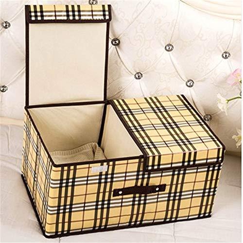 ETRZ Kleideraufbewahrungsbox Falttuchaufbewahrungsbox (gelbe Gitterdoppelabdeckung groß 50 * 30 * 25 cm)