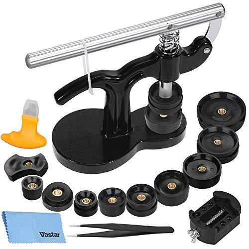 Vastar 18 Teilig Uhr Einpresswerkzeug Set Uhren Presse Rückseite Gehäuse Uhrenmacher Reparatur Werkzeug mit 12 Druckplatten Kunststoffeinsätze