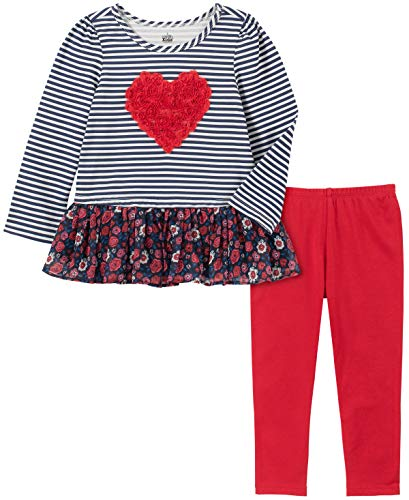 Kids Headquarters Girls' Toddler 2 Pieces Leggings Set, Navy Stripes/Red, 4T