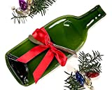 Melted Green Glass Wine Bottle Cheese Serving Tray with Cheese Spreader and Red Ribbon, Unique Christmas Gift by Mitchell Glassworks