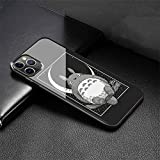 Fashion Phone Case for iPhone 11 Pro Max Cover,9H Tempered Glass Soft Silicone Back Cover Anti Scratch Bumper Design LB-93 Cat Totoro Miyazaki Hayao Protective Case
