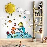 R00132 Pegatina Vinilo Pared Suave Efecto Tejido Decoración Niño Bebé Habitación Infantil Guardería Papel Pintado Autoadhesivo Principito