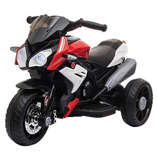 homcom Moto Elettrica per Bambini 3-6 Anni Max. 25kg con Luci, Musica, Batteria 6V e velocità 3km/h, Nera Bianca e Rossa