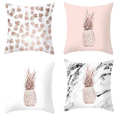AtHomeShop Juego de 5 fundas de cojín de 45 x 45 cm, de poliéster con diseño de piña, cómodas, cuadradas para sofá, dormitorio, terraza, color blanco, rosa y marrón