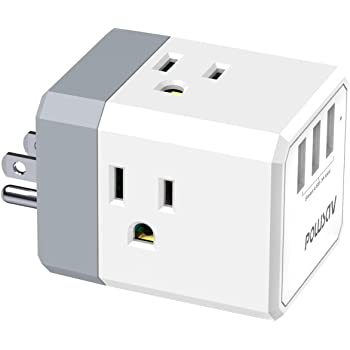 Amazon Com Multi Plug Outlet Outlet Expanders Powsav Usb Wall Charger With 3 Usb Ports Smart 3 0a Total And 3 Outlet Extender With 3 Way Splitter No Surge Protector For Cruise Ship Home Office Etl