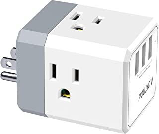 Multi Plug Outlet, Outlet expanders, POWSAV USB Wall Charger with 3 USB Ports(Smart 3.0A Total) and 3-Outlet Extender with...