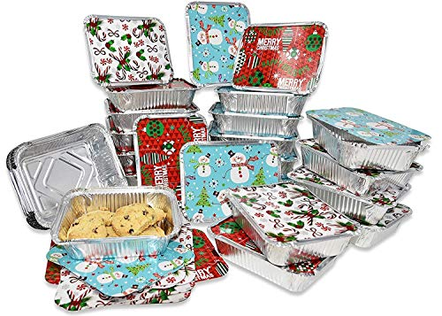 Gift Boutique 36 Count Christmas Tin Foil Containers with Lid Covers For Cookies in 3 Holiday Designs Aluminum Disposable Food Storage Pans For Treat Exchange & Goodie Party Leftovers 5'W X 7'L X 1.5'