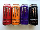 Monster Energy Drink Zero Ultra Variety - Ultra Red, Ultra Sunrise, Ultra Black, Ultra Violet - 16fl.oz. (Pack of 16)