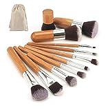 Llxhg2020 Nueva Herramienta De Maquillaje Bambú Natural Pinceles De Maquillaje Profesional Set Powder Foundation Sombra De Ojos Cepillo De Mezcla Kit De Herramientas De Maquillaje 11Pcs