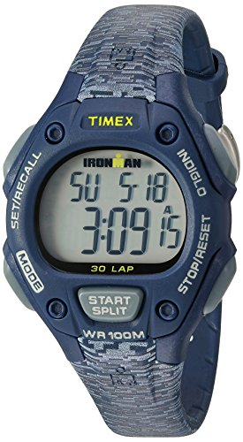 Timex Women's Ironman 30-Lap Digital Quartz Mid-Size Watch, Blue/Gray Texture - TW5M074009J