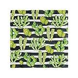 Leila Marcus Servilletas de mesa de cena – Acuarela Cactus Rayas horizontales de tela de día festivo servilletas lavables para bodas y fiestas, juego de 50,8 x 50,8 cm