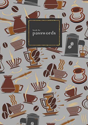 Book for Passwords: B6 Small Internet Address Notebook with A-Z Alphabetical Index   Coffee Maker Cup Bean Design   Gray