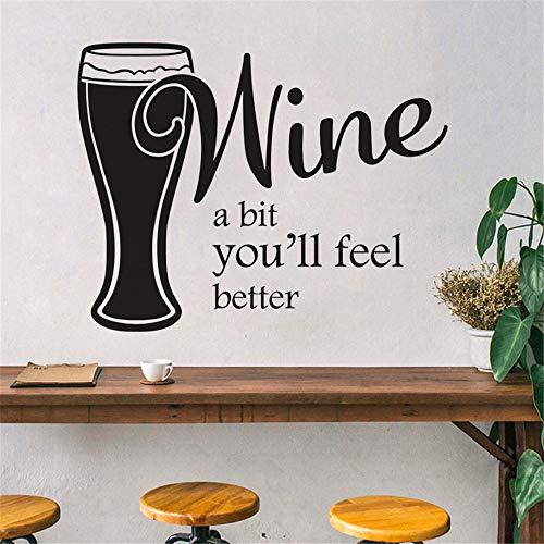 SITAKE dekoracja do wina do kuchni, Wine A Bit You ll Feel Better kuchenna naklejka ścienna, dekoracje kuchenne zestawy tematyczne naklejka ścienna, winylowa artystyczna naklejka ścienna do jadalni baru domu, 58 x 45 cm