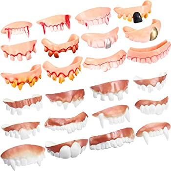 Gnarly Teeth Gag Teeth Ugly Fake Teeth Bob Teeth Halloween Vampire Denture Teeth for Halloween Costume Party Favors 24 Pieces  Blood Style Classic Style