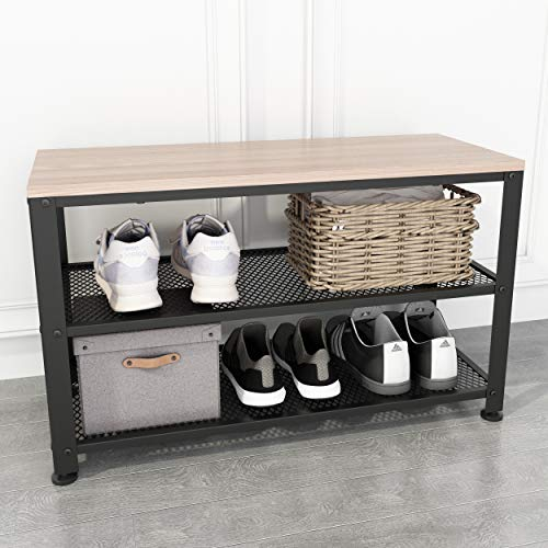 Rustic White Oak Shoe Bench, 3-Tier Shoe Rack Bench with Mesh Shelves, Sturdy Entryway Bench with Shoe Storage, 28.74'(W) x 11.81'(D) x 17.72'(H), Holds up to 220 lbs