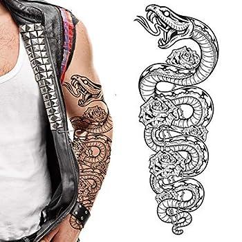 2 x Temporary tattoos snake python roses cobra tribal flowers full arm tattoo rocker punk viking redneck body art stickers full arm sleeves adult men women kids halloween temp tatoo