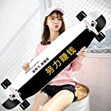 MKJYDM Scooter Maple Long Board Brush Street Dance Board Cuatro Ruedas Doble Skateboard Skateboard Principiante Teen Boy Girl Profesional Skateboard patineta (Color : E)
