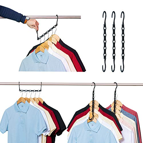iYourHouse Space Saving Hangers Magic Hangers 10 Pack Sturdy Plastic Space Saver Hangers for Heavy Clothes Hanger Organizer for Dorms Apartments Small Closet Black