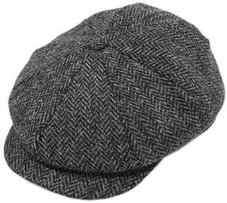 Biddy Murphy Irish Tweed Caps 100% Wool Charcoal Herringbone Made in Ireland Medium