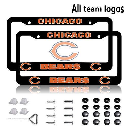 SAFUL Fit Chicago Bears License Plate Frames, Aluminum Alloy Bears License Plate Holder,Universal American Auto Licence Plate Frame Covers, Rust-Proof, Rattle-Proof, Weather-Proof (for Bears)
