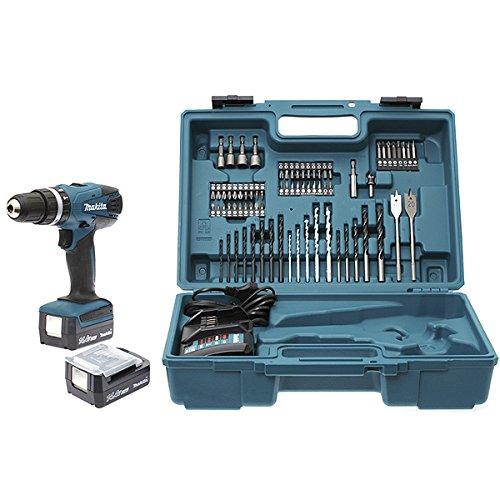 Makita HP347DWEX3 - Trapano avvitatore a percussione con 2 batterie 14,4 V 1,3/74, accessori in cofanetto
