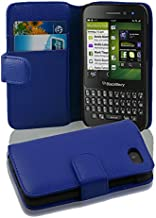 Cadorabo Case Works with BlackBerry Q5 (Design Book Structure) - with 2 Card Slots - Wallet Case Etui Cover Pouch PU Leather Flip NAVY-BLUE DE-100607