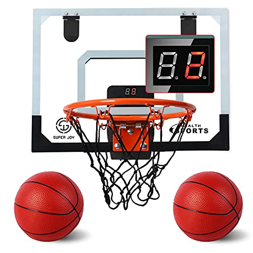AOKESI Indoor Basketball Hoop for Room with Electronic Scoreboard - 17' x 12.5' Mini Basketball Hoop Over The Door Basketball Toys Gift for 5 6 7 8 9 10 11 12 Year Old Boys, Men and Adults