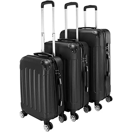 """3-in-1 Portable Travel ABS Carry On Suitcase Luggage Sets, Hardshell Spinner Trolley Case With Wheels 20"""" / 24"""" / 28"""" (Black)"""