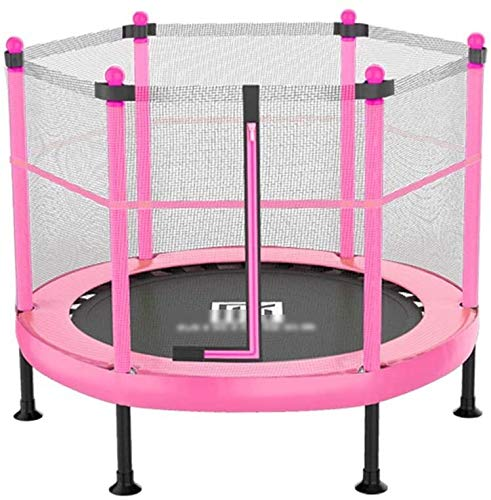 YAOJIA Indoor trampoline Foldable Fitness Trampoline With Fence Workout Mini Rebounder Trampoline for kids | Small exercise trampoline for indoor use (Color : Pink, Size : 40 inches)