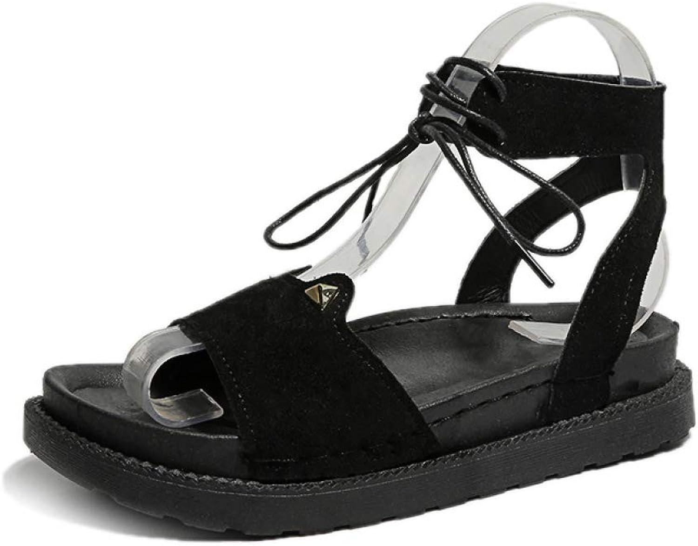 Btrada Women's Black Wedge Heel Espadrilles Summer Open Toe Gladiator Sandals Casual Lace Up Platform shoes