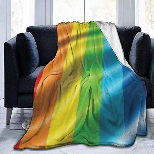 AEMAPE Manta de Tiro con Bandera del Arco Iris, Orgullo Gay, Alfombra mullida, colchas de Dormitorio para Mujeres, Lujosa Alfombrilla para Dormir, Funda de Franela para Invierno de 50 'x 60'